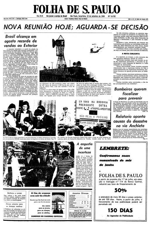 Primeira página da Folha de S.Paulo de 16 de setembro de 1969