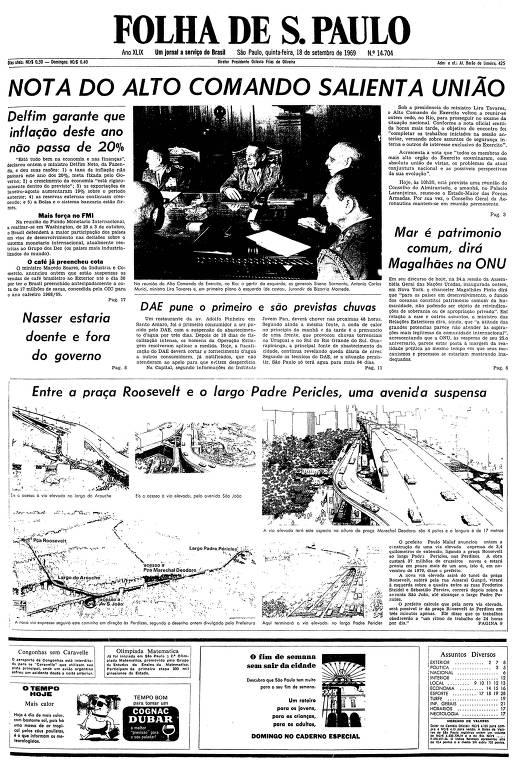 Primeira página da Folha de S.Paulo de 18 de setembro de 1969