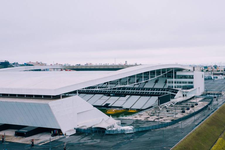 Vista da Arena Corinthians, inaugurada em maio de 2014 para a Copa do Mundo no Brasil