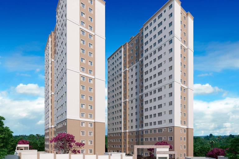 Perspectiva ilustrada da fachada dos prédios do empreendimento San Donato, da MRV, na Vila Andrade, zona Sul de São Paulo