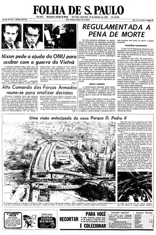 Primeira página da Folha de S.Paulo de 19 de setembro de 1969