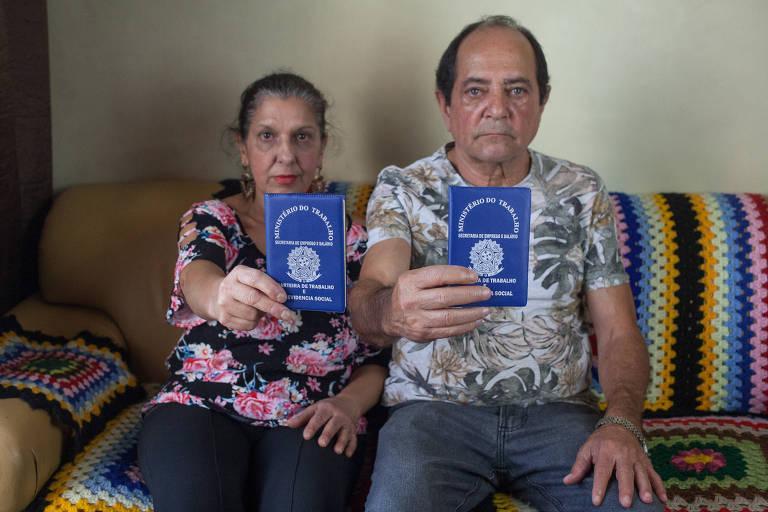 O casal Sônia Maria Sylvestre, 60, e Ricardo Bicudo, 68, tentam se aposentar desde 13 de dezembro do ano passado; desempregados, eles aguardam a análise do INSS para receber uma renda mensal