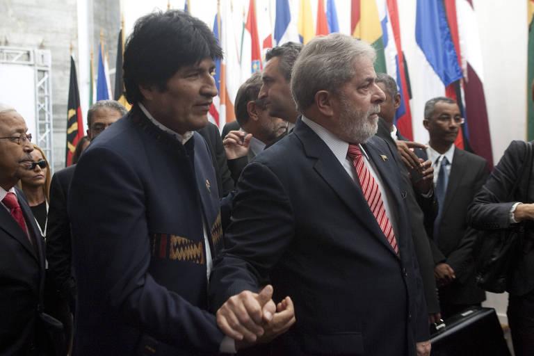 Evo Morales e Lula, em evento no Rio, em 2010