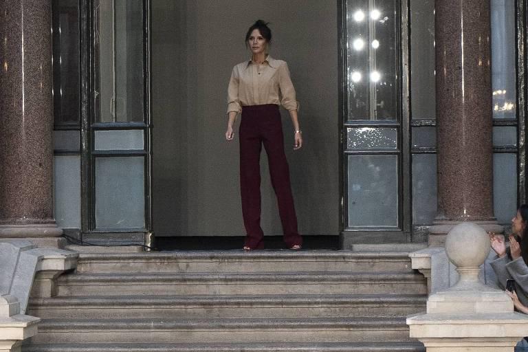 Victoria Beckham durante a semana de moda de Londres