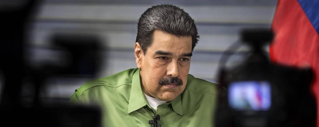 Nicolás Maduro durante entrevista à Folha em Caracas, capital da Venezuela