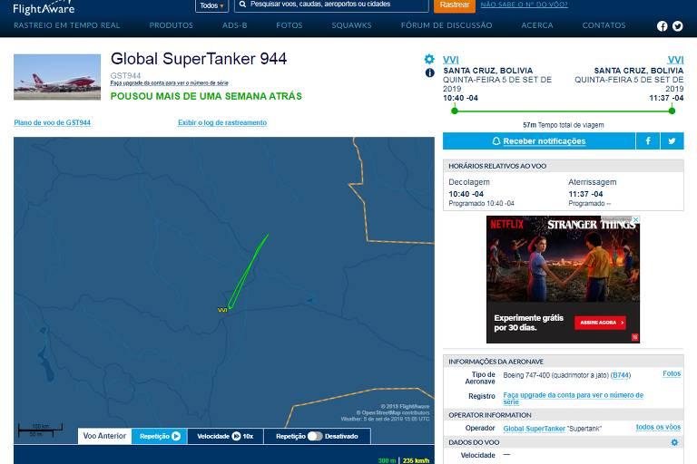 Imagem mostra página FlightAware (site de rastreio de voos), que, no dia 5 de setembro, o Boeing 747 da empresa Global SuperTanker decolou do Aeroporto Internacional Viru Viru às 10h40 e retornou ao mesmo aeroporto às 11h37.