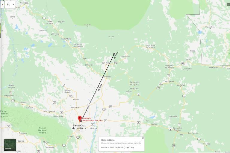 Imagem mostra mapa do Google Maps, com linha medindo distância entre aeroporto e Concepción, cidade em que o vídeo foi gravado. A distância mostra 192 km.
