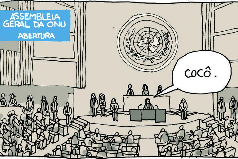 Ilustração descreve a abertura da assembleia geral da ONU. Com a plateia lotada, o personagem que faz discurso, ao centro, diz: cocô