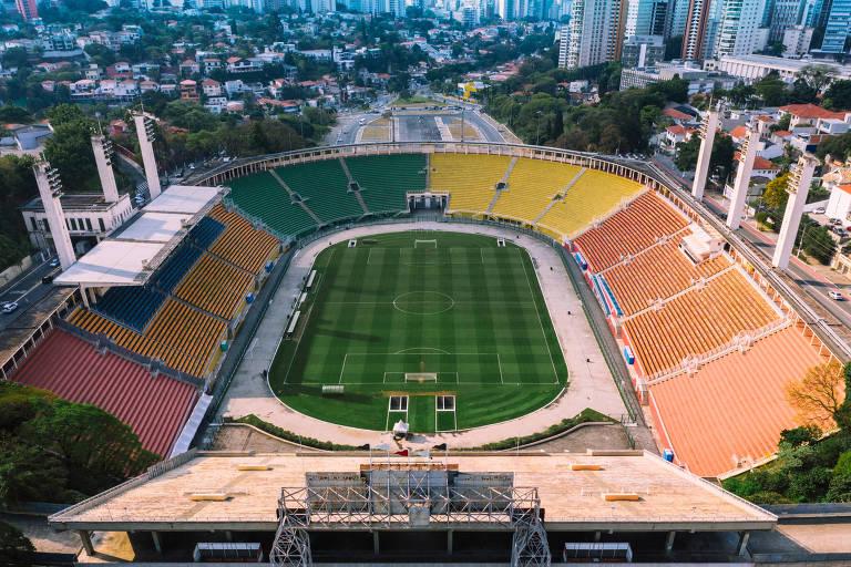 O estádio do Pacaembu