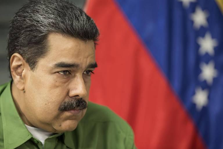 O ditador da Venezuela, Nicolás Maduro, durante entrevista à Folha em Caracas, capital da Venezuela