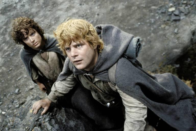 """Elijah Wood (esq.) e Sean Astin em cena do filme """"O Senhor dos Anéis: O Retorno do Rei"""""""