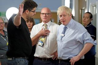 Britain's PM Johnson visits Whipps Cross University Hospital in London