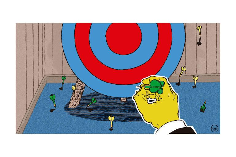 Mão amarela de homem usando camisa e terno joga dardos verdes e amarelos num alvo azul e vermelho. Os vários dardos no chão indicam as tentativas frustradas de acerto.