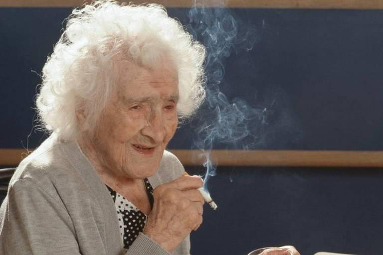 Jeanne Calment retratada em seu 117º aniversário