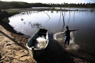 Pescador no rio Peruípe, na ilha de Barra Velha, em Nova Viçosa, litoral sul da Bahia