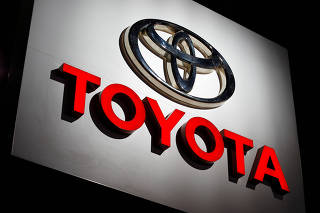 FILE PHOTO: The Toyota logo is shown at the Los Angeles Auto Show