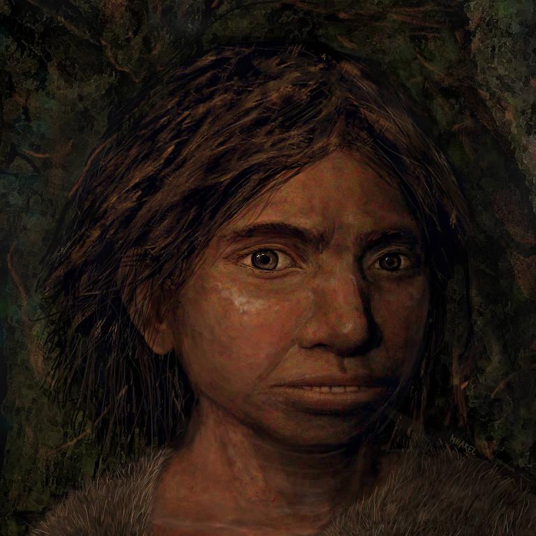 Retrato de uma jovem denisovana baseada em perfil reconstruído com sutis modificações do DNA