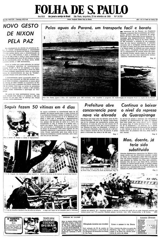Primeira página da Folha de S.Paulo de 23 de setembro de 1969
