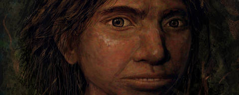 This image shows a portrait of a juvenile female Denisovan based on a skeletal profile reconstructed from ancient DNA methylation maps.