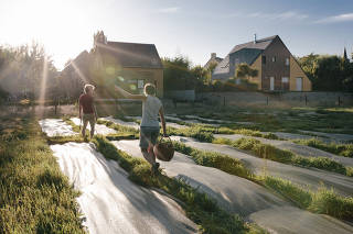 A permaculture farm in Langouët, France, that was developed on land provided by the village, on Sept. 3, 2019. (Andrea Mantovani/The New York Times)