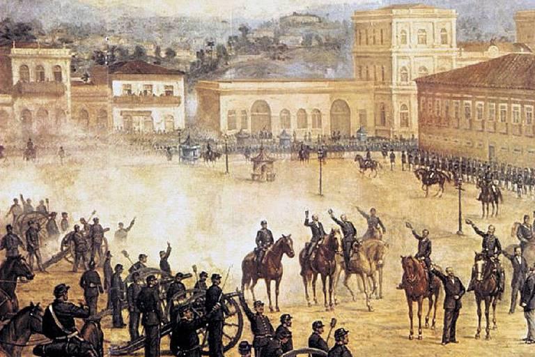 """""""Proclamação da República"""", tela de Benedito Calixto, que mostra o Campo de Santana, no Rio, em 15.nov.1889"""