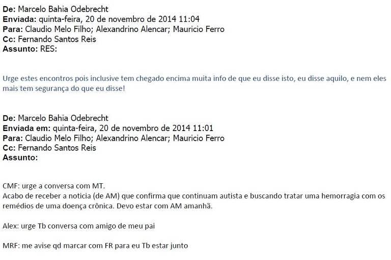 Emails trocados pela Odebrecht e anexados em fase da Lava Jato