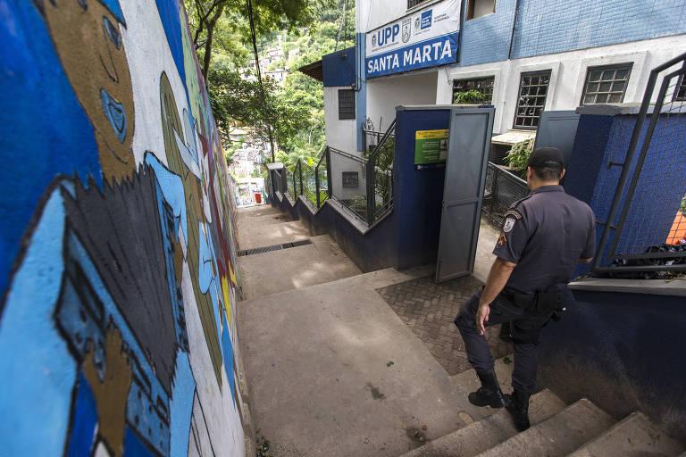 UPP no morro Dona Marta, primeira comunidade a receber esse tipo de policiamento, em 2015