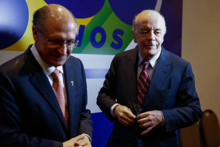 Os ex-governadores de São Paulo Geraldo Alckmin e José Serra, ambos do PSDB