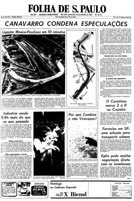 Primeira página da Folha de S.Paulo de 25 de setembro de 1969