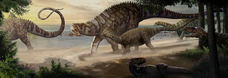 Concepção artística do Itapeuasaurus cajapioensis; ele media no máximo 10 metros de comprimento, tamanho modesto para os membros de sua estirpe de herbívoros pescoçudos