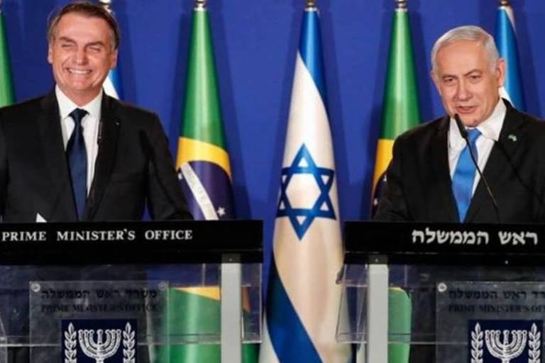Bolsonaro e Netanyahu durante a visita do brasileiro a Israel; premiê é o mais longevo da história israelense, mas corre o risco de perder a cadeira para rival