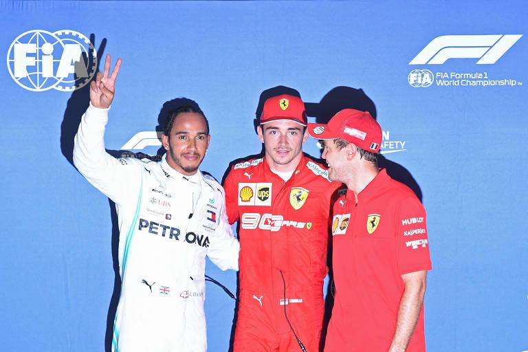 Hamilton, Leclerc e Vettel após o treino classificatório para o GP de Singapura