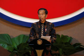 Indonesian president Joko Widodo delivers a speech during the Inauguration of the new ASEAN Secretariat Building in Jakarta