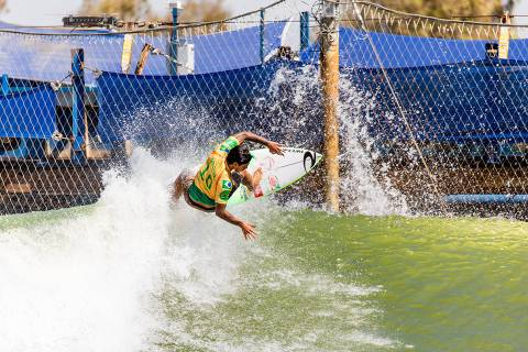 LEMOORE, CA, UNITED STATES - SEPTEMBER 19: Defending event winner, Two-time WSL Champion Gabriel Medina of Brazil surfing in Heat 3 of Round 1 at the 2019 Freshwater Pro on September 19, 2019 in Lemoore, CA, United States. (Photo by Cait Miers/WSL via Getty Images) ORG XMIT: 775392774