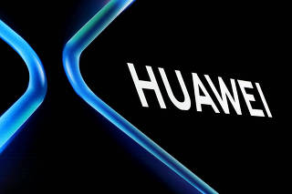 FILE PHOTO: The Huawei logo is displayed ahead of the Mobile World Congress (MWC 19) in Barcelona
