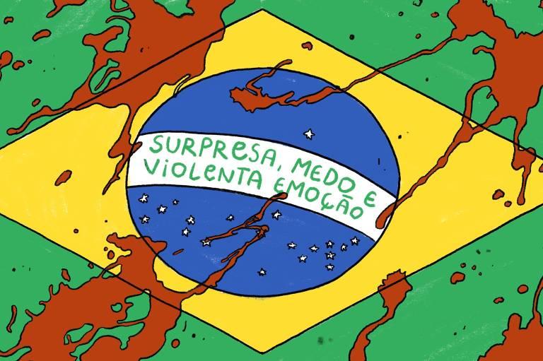 """Bandeira do Brasil manchada de sangue com a frase central trocada para """"surpresa, medo e violenta emoção"""""""