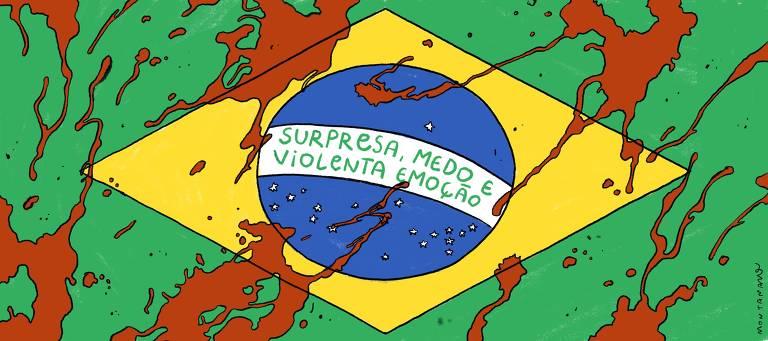 Bandeira do Brasil manchada de sangue com a frase central trocada para 'Surpresa, medo e violenta emoção'