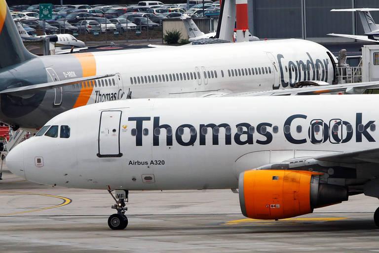 Airbus do grupo britânico Thomas Cook no aeroporto de Düsseldorf, na Alemanha