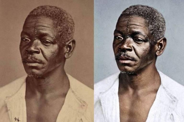 Montagem com foto antiga de homem negro, mostra a imagem dele a cores