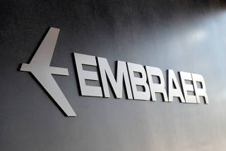 FILE PHOTO: Embraer logo at LABACE in Sao Paulo