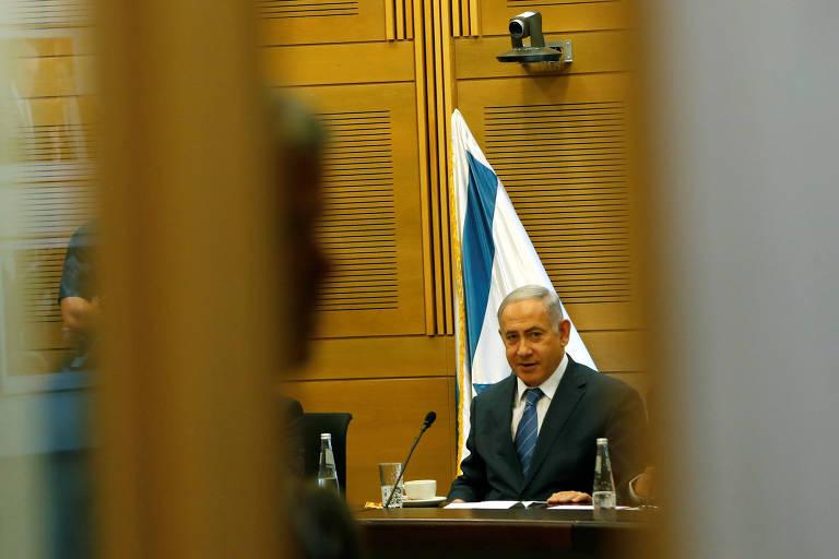 O premiê Binyamin Netanyahu durante encontro do Likud em Jerusalém