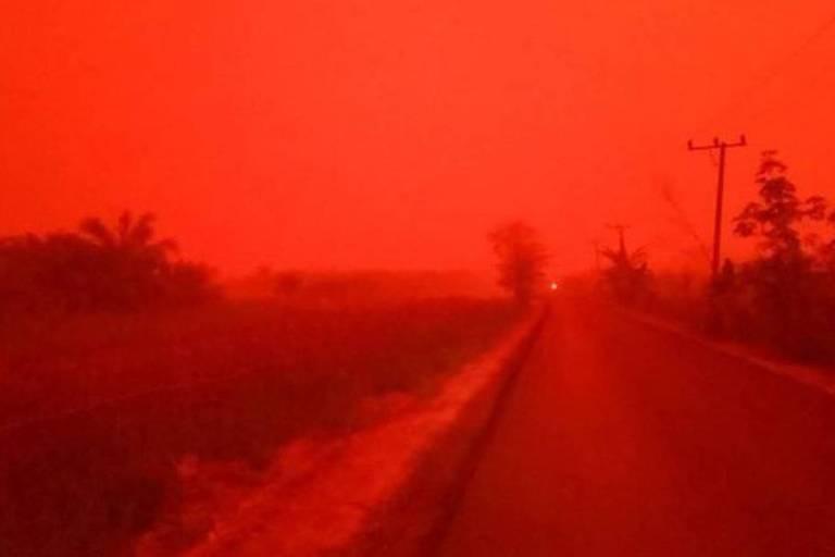 A situação na província de Jambi, na Indonésia, parecia ter saído de um filme pós-apocalíptico