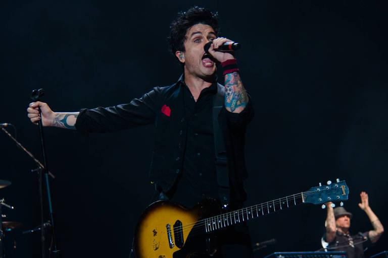 Billie Joe Armstrong, do Green Day, durante show da banda no Rio de Janeiro
