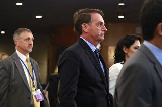 Brazil's president Jair Bolsonaro arrives ahead of the 74th session of the United Nations General Assembly at U.N. headquarters in New York City, New York, U.S.