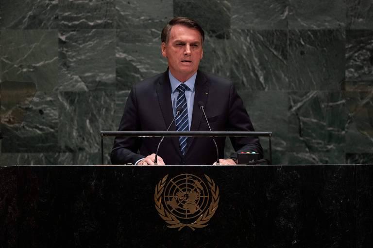 O presidente Jair Bolsonaro durante discurso na Assembleia Geral da ONU, em Nova York