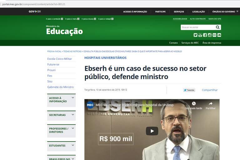"""Matéria no site do MEC com título """"Ebserh é caso de sucesso no setor público"""", defende ministro"""