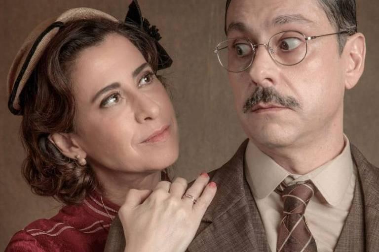 Fernanda Torres e Alexandre Nero como Maria Tereza e Geraldo Bulhosa em 'Filhos da Pátria 2'