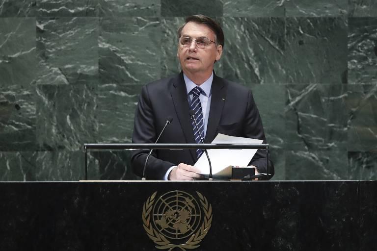 Jair Bolsonaro na abertura da Assembleia Geral da ONU em 2019
