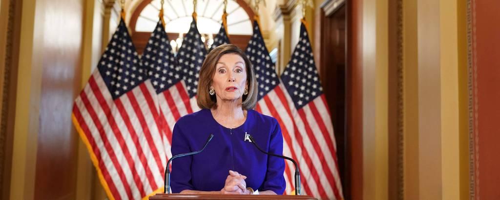 A presidente da Câmara dos Representantes, Nancy Pelosi, anuncia a abertura do processo de impeachment contra Donald Trump
