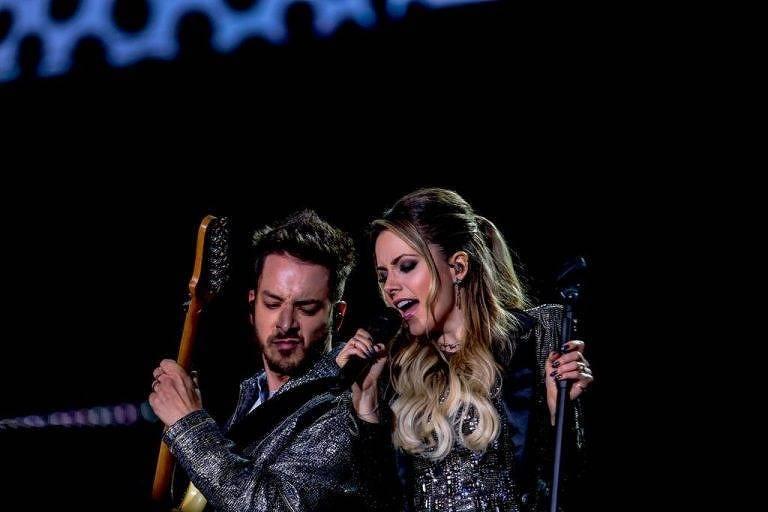 Sandy e Junior no palco do Allianz Parque